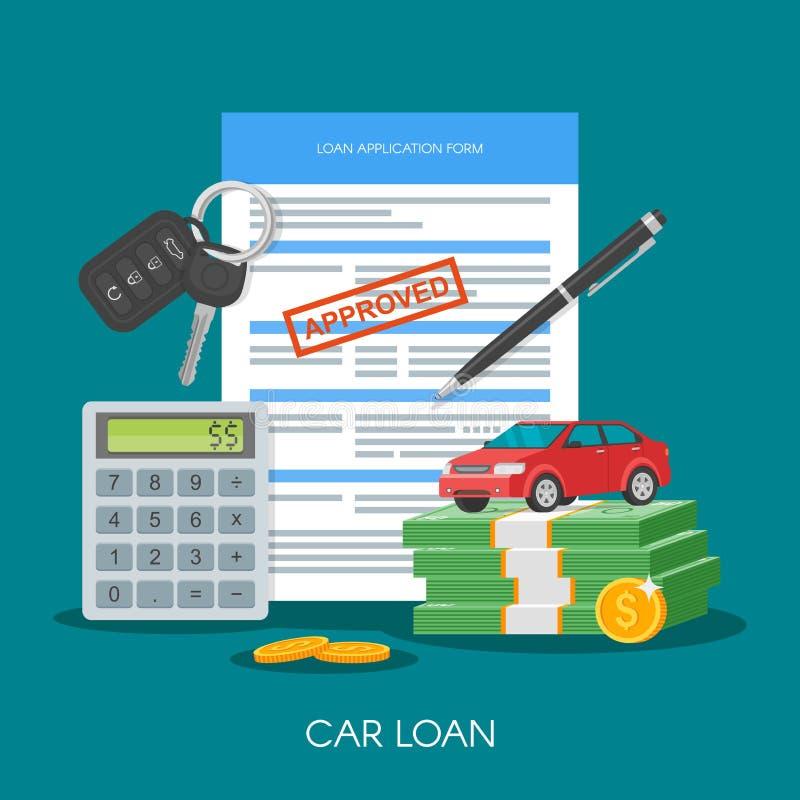 Anerkannte Autokredit-Vektorillustration Kaufendes Automobilkonzept Selbstschlüssel, Geld, Anmeldeformular vektor abbildung