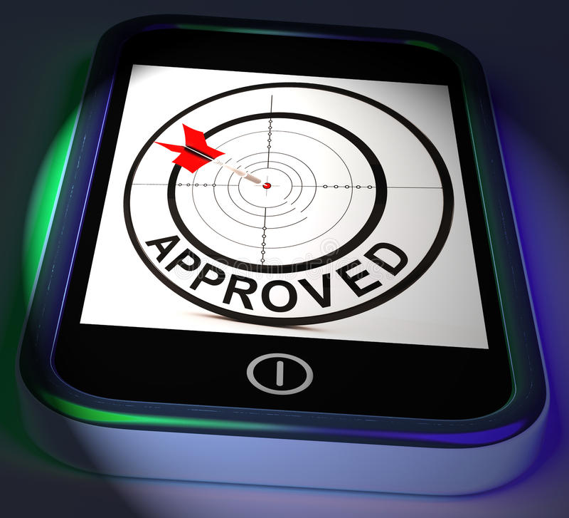 Anerkannte Smartphone-Anzeigen angenommen autorisiert oder indossiert vektor abbildung