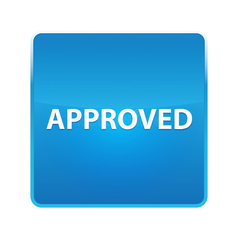 Anerkannter glänzender blauer quadratischer Knopf lizenzfreie abbildung