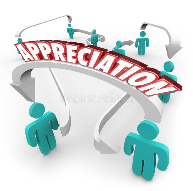 Anerkennungs-Dankbarkeits-Leute verbundene Pfeile dankbar stock abbildung