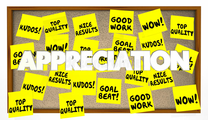Anerkennungs-Lob dankt Anerkennungs-Anmerkungen lizenzfreie abbildung