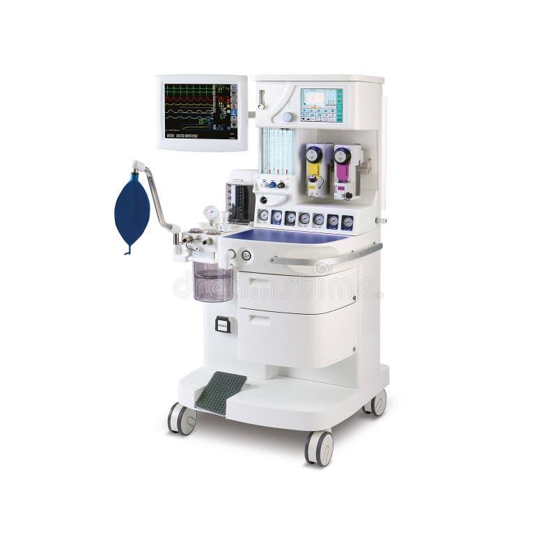 Anestezji maszyna, odizolowywająca na białym tle Sprzęt medyczny obrazy stock