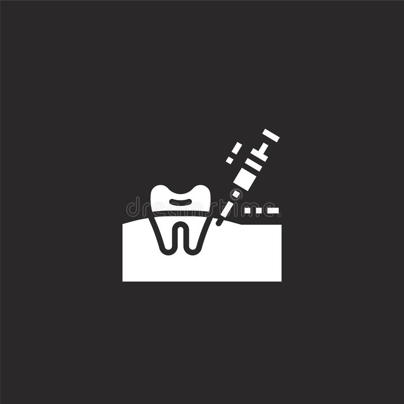 Anesthesia icon. Filled anesthesia icon for website design and mobile, app development. anesthesia icon from filled dental. Collection isolated on black stock illustration