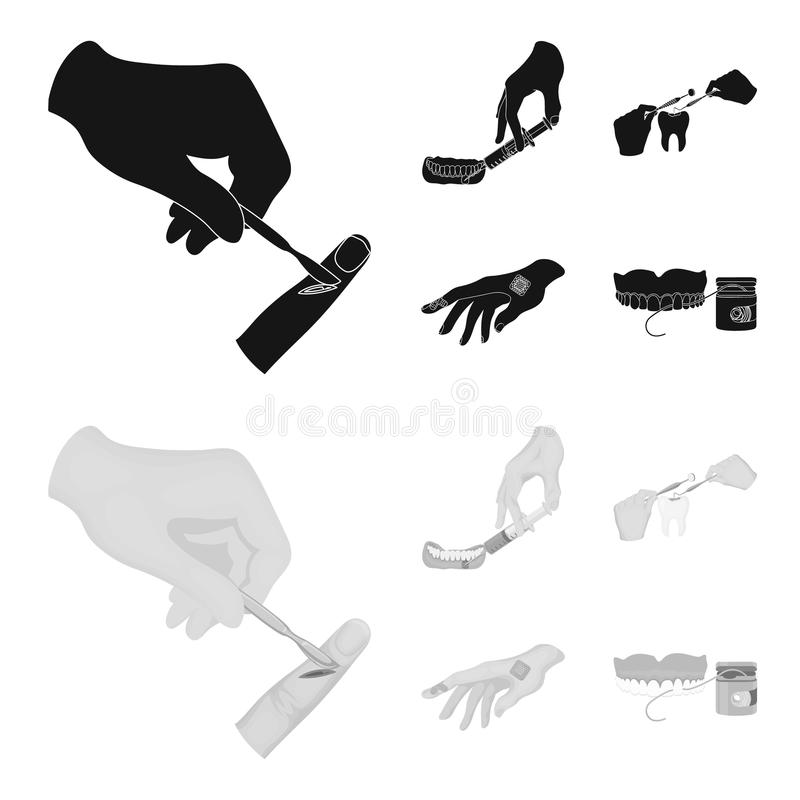Anesthetic injection, dental instrument, hand manipulation, tooth cleaning and other web icon in black,monochrom style. Anesthetic injection, dental instrument vector illustration