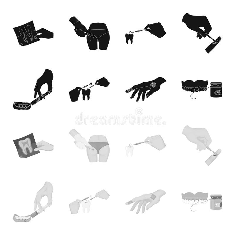 Anesthetic injection, dental instrument, hand manipulation, tooth cleaning and other web icon in black,monochrome style. Anesthetic injection, dental instrument vector illustration