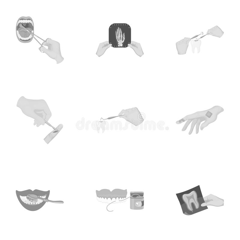 Anesthetic injection, examination of the tooth and other web icon in monochrome style. wound treatment, vision check. Anesthetic injection, examination of the vector illustration