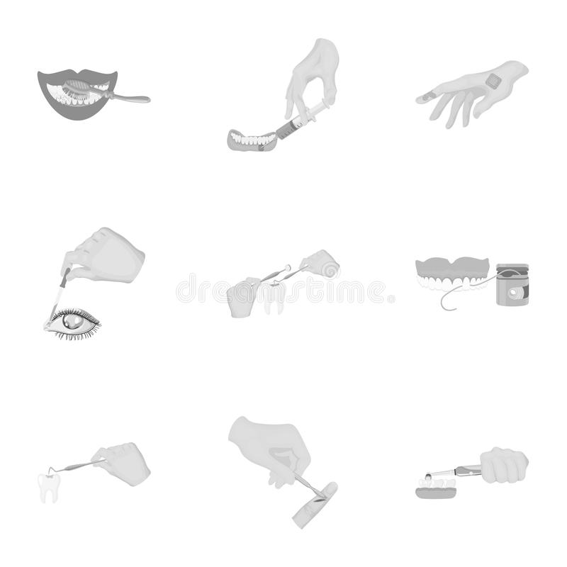 Anesthetic injection, examination of the tooth and other web icon in monochrome style. wound treatment, vision check. Anesthetic injection, examination of the stock illustration