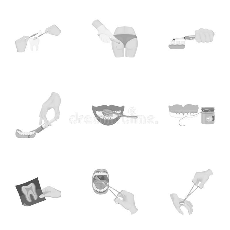 Anesthetic injection, examination of the tooth and other web icon in monochrome style. wound treatment, vision check. Anesthetic injection, examination of the royalty free illustration