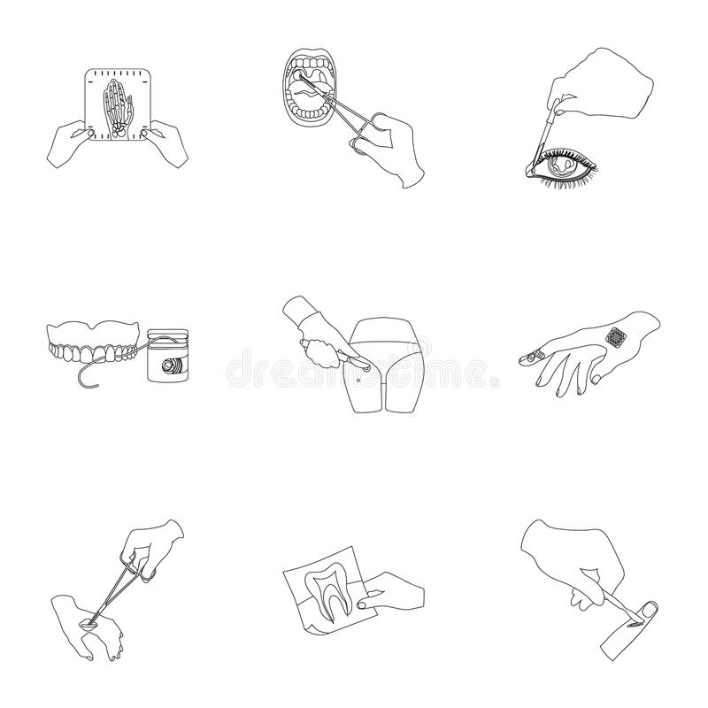 Anesthetic injection, examination of the tooth and other web icon in outline style. wound treatment, vision check icons. Anesthetic injection, examination of the stock illustration