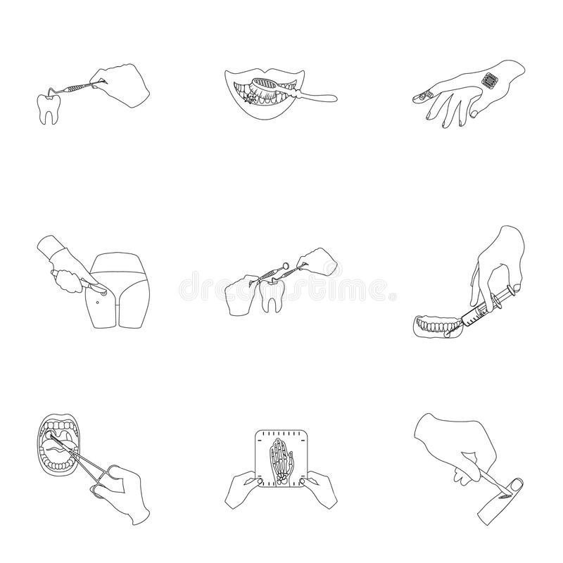 Anesthetic injection, examination of the tooth and other web icon in outline style. wound treatment, vision check icons. Anesthetic injection, examination of the vector illustration