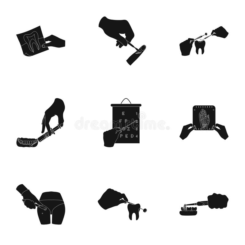 Anesthetic injection, examination of the tooth and other web icon in black style. wound treatment, vision check icons in. Anesthetic injection, examination of royalty free illustration