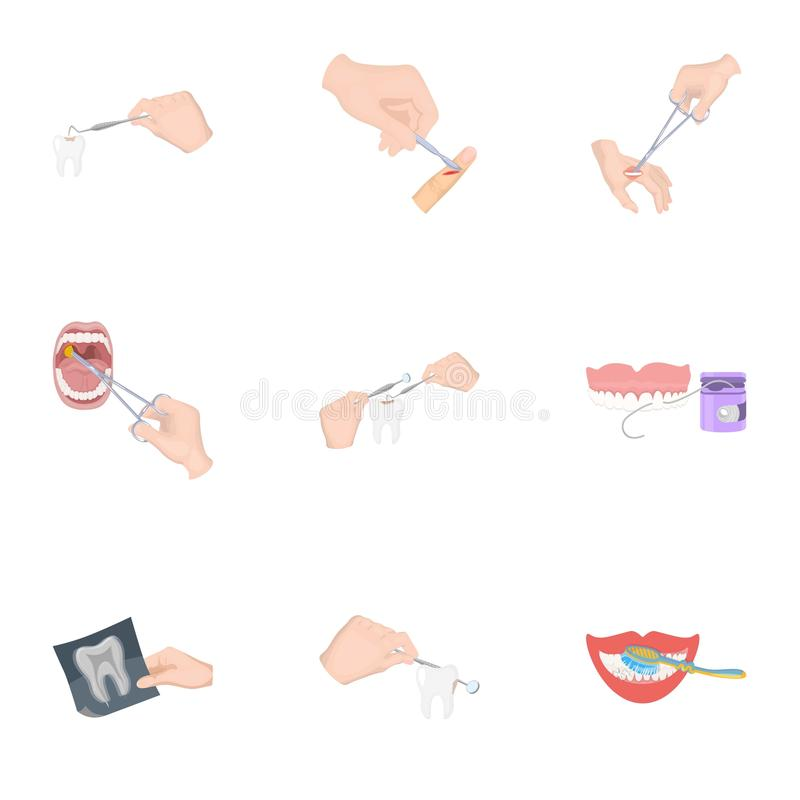 Anesthetic injection, examination of the tooth and other web icon in cartoon style. wound treatment, vision check icons. Anesthetic injection, examination of the vector illustration