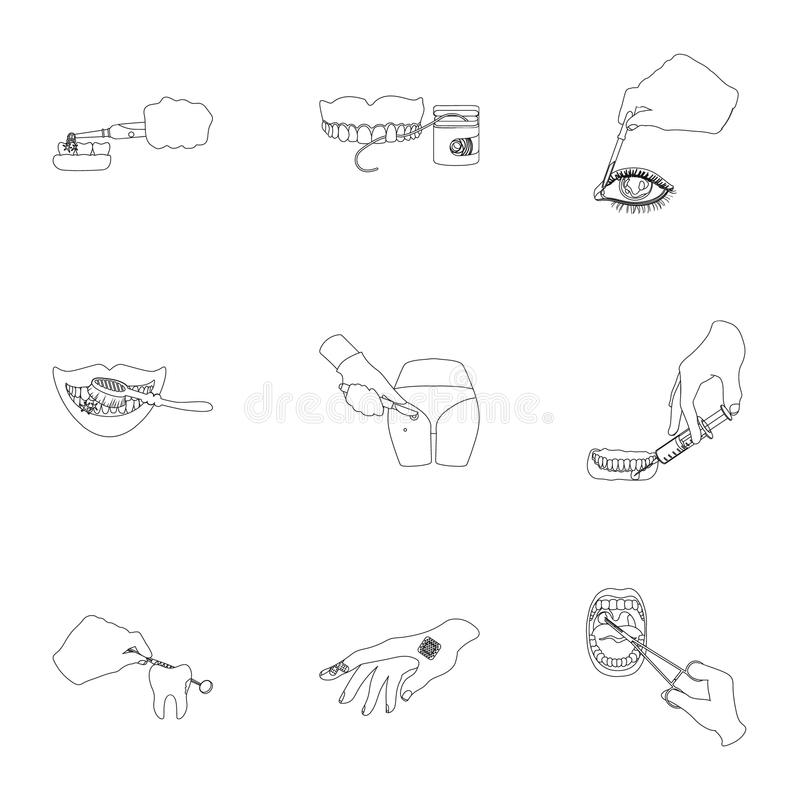 Anesthetic injection, examination of the tooth and other web icon in outline style. wound treatment, vision check icons. Anesthetic injection, examination of the royalty free illustration