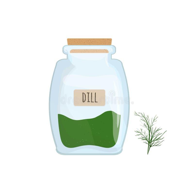 Aneto secado armazenado no frasco de vidro isolado no fundo branco Erva, especiaria do alimento ou condimento aromático, cozinhan ilustração royalty free