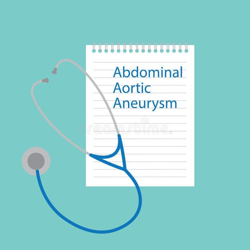 Aneurisma aórtico abdominal escrito em um caderno ilustração royalty free