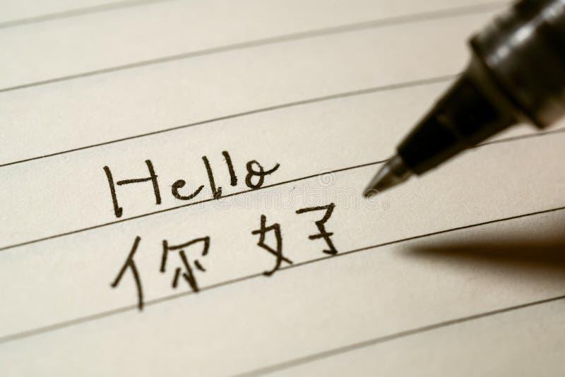 Anfänger des Anfängers chinesische Sprach, derhallowort Nihao in chinesische Schriftzeichen auf ein Notizbuch schreibt stockbild