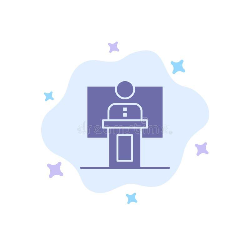 Anförande affär, konferens, händelse, presentation, rum, blå symbol för högtalare på abstrakt molnbakgrund stock illustrationer