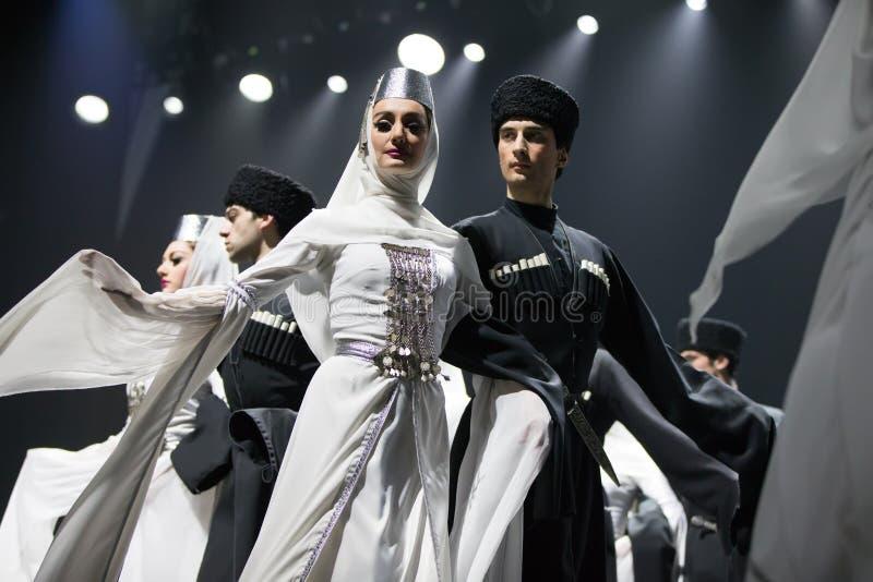Anförande av den nationella georgiska baletten Sukhishvili Georgiskt utföra för dansare arkivbild