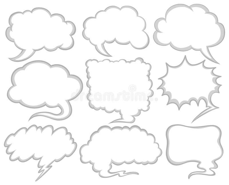 Anförande bubblar i olika former royaltyfri illustrationer