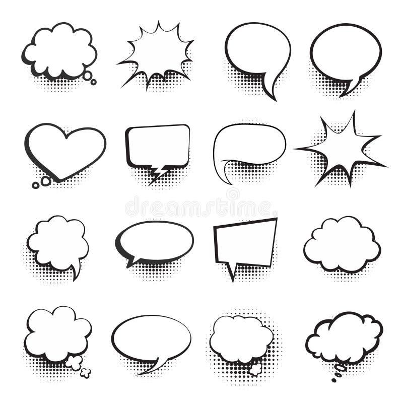 Anförande bubblar komikeruppsättningen royaltyfri illustrationer