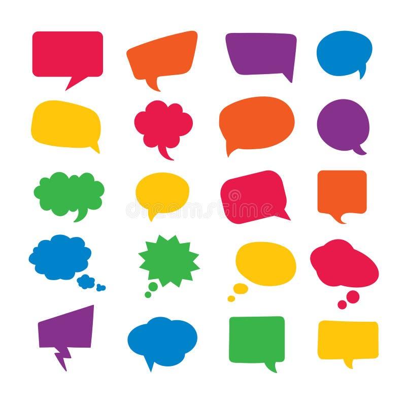 Anförande bubblar komikeruppsättningen stock illustrationer