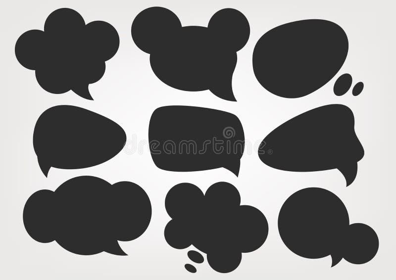 Anförande bubblar konturuppsättningar stock illustrationer