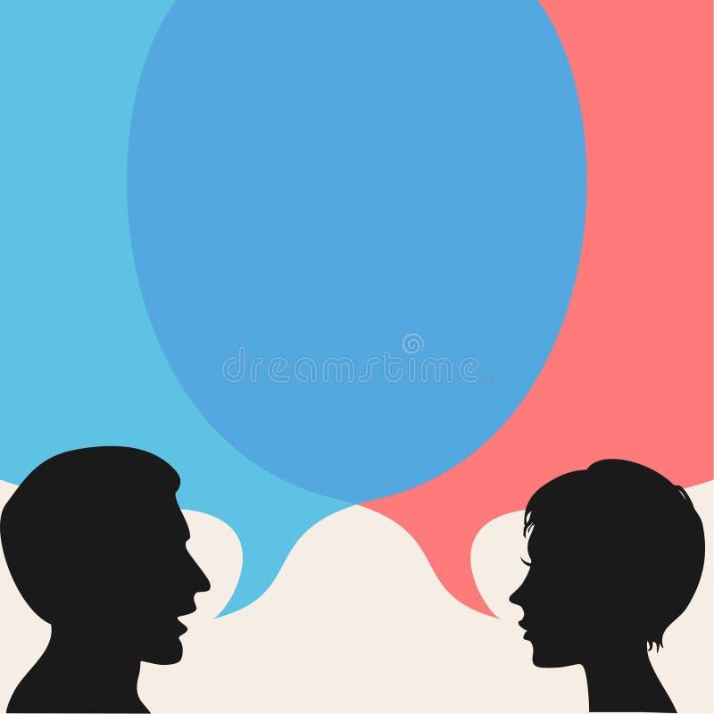 Anförande bubblar med två personer royaltyfri illustrationer