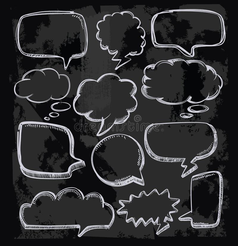 Anförande bubblar på den svart tavlan stock illustrationer