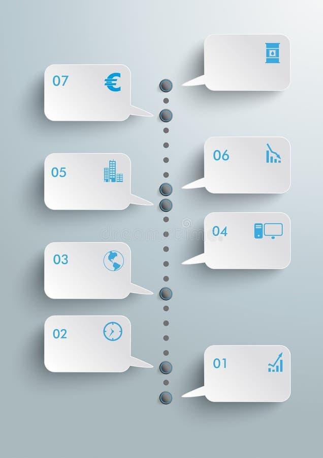 Anförande bubblar timelinen Infographic PiAd royaltyfri illustrationer