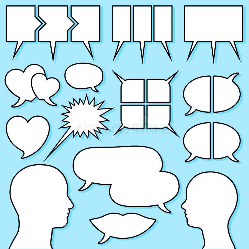 anförande för manlig för bubblakvinnlighuvud set royaltyfri illustrationer