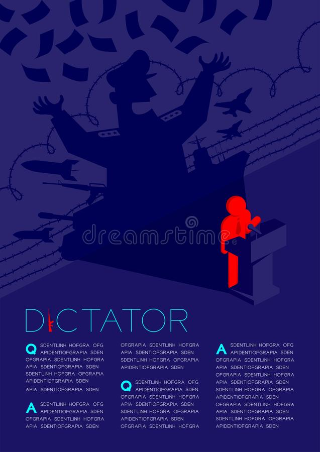 Anförande för pictogram för diktatorskuggaman med det isometriska podiet, diktatur bak illustrationen för kontrollbegreppsdesign  royaltyfri illustrationer