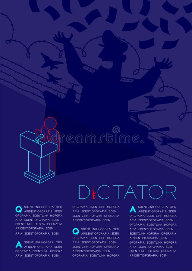 Anförande för pictogram för diktatorskuggaman med det isometriska podiet, diktatur bak illustrationen för kontrollbegreppsdesign  stock illustrationer