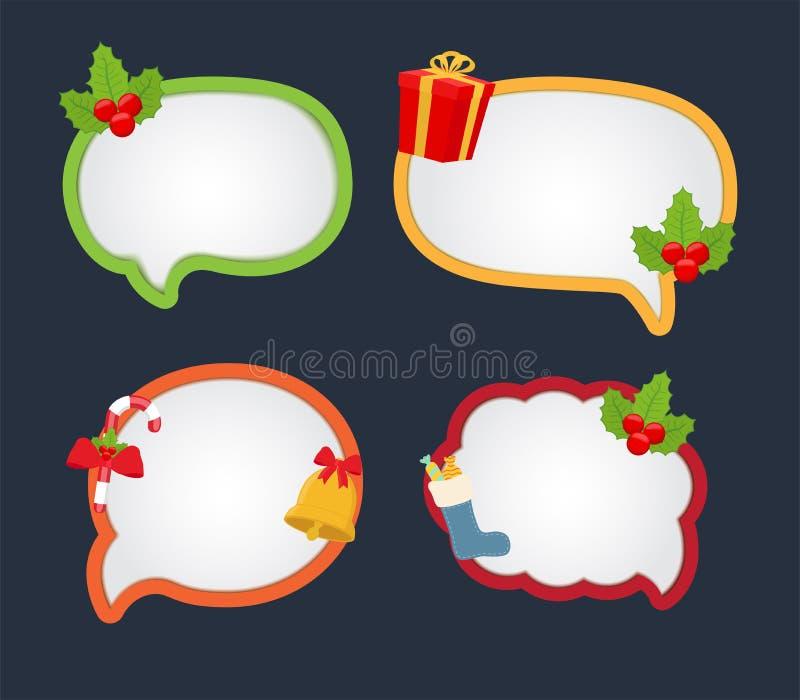 Anförande för vektortecknad filmbubbla för jul dialog royaltyfri illustrationer