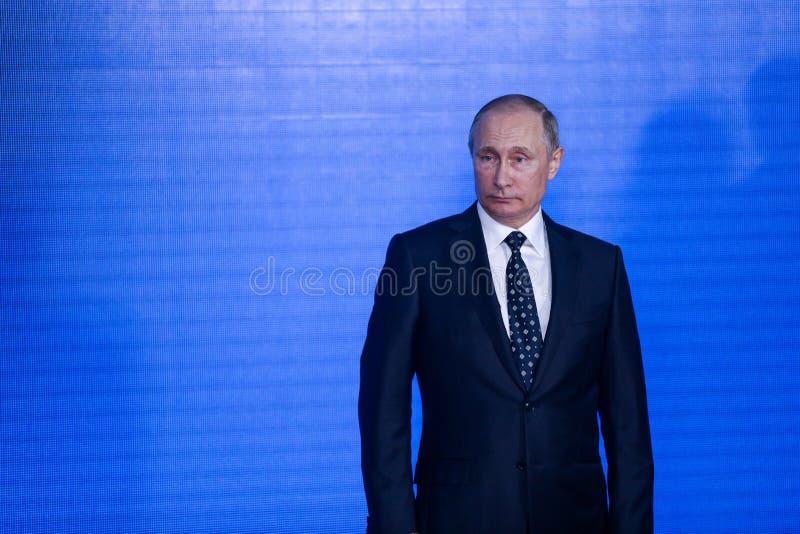 Anförande vid presidenten från den ryska federationen Vladimir Putin i Primorskyen Oceanarium royaltyfri fotografi