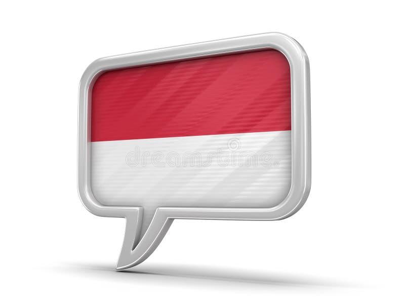 Anförandebubbla med den Monaco flaggan vektor illustrationer