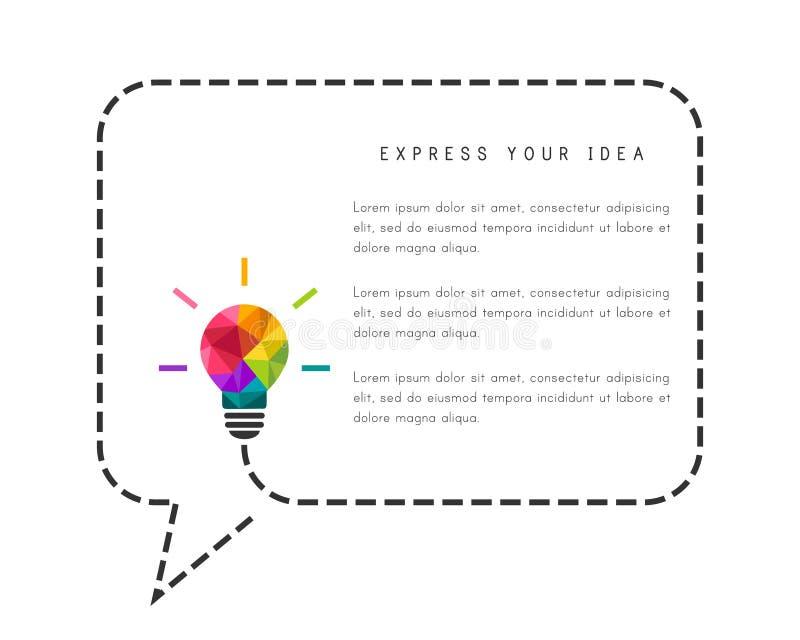 Anförandebubbla med lightbulben som idérikt idébegrepp vektor illustrationer