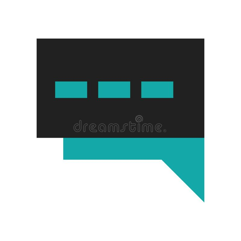 Anförandebubbla med tre prickar inom symbolsvektortecken och symbol som isoleras på vit bakgrund, anförandebubbla med tre prickar stock illustrationer