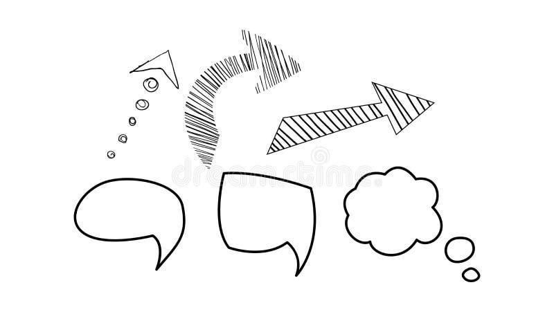 Anförandebubbla och pilar uppsättning, för beståndsdelvektor för hand utdragen illustration på en vit bakgrund royaltyfri illustrationer