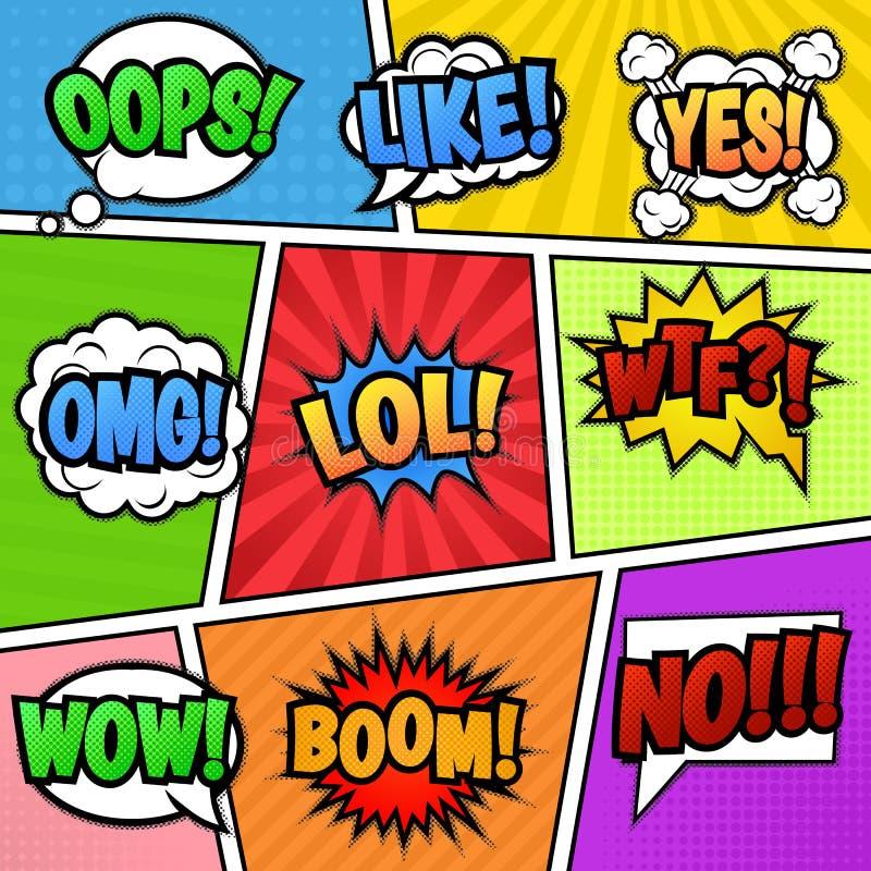 Anförandebubblaetiketter på färgrik bakgrund vektor illustrationer
