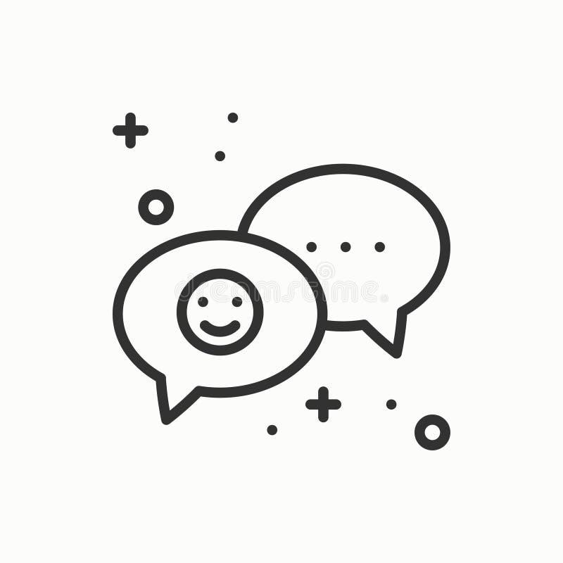 anförandebubblalinje symbol Fråga för meddelande för konversationpratstunddialog Grundläggande beståndsdel för tunt linjärt parti vektor illustrationer