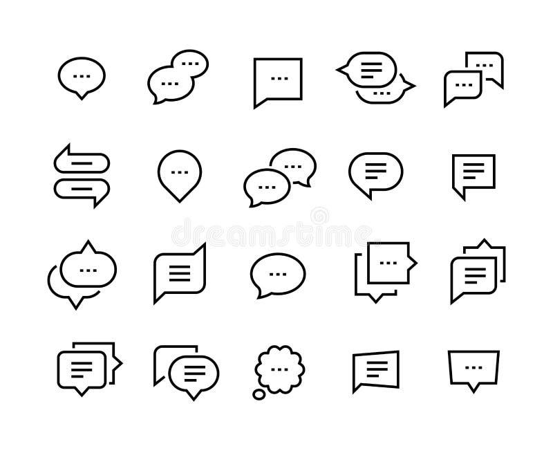 Anförandebubblalinje symboler Symboler för dialog för konversation för samtalpratstund tunna, komiskt moln för stämmameddelande V vektor illustrationer