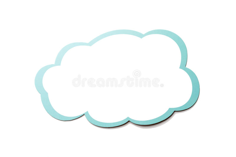Anförandebubblan som ett moln med blått gränsar isolerat på vit bakgrund kopiera avstånd stock illustrationer