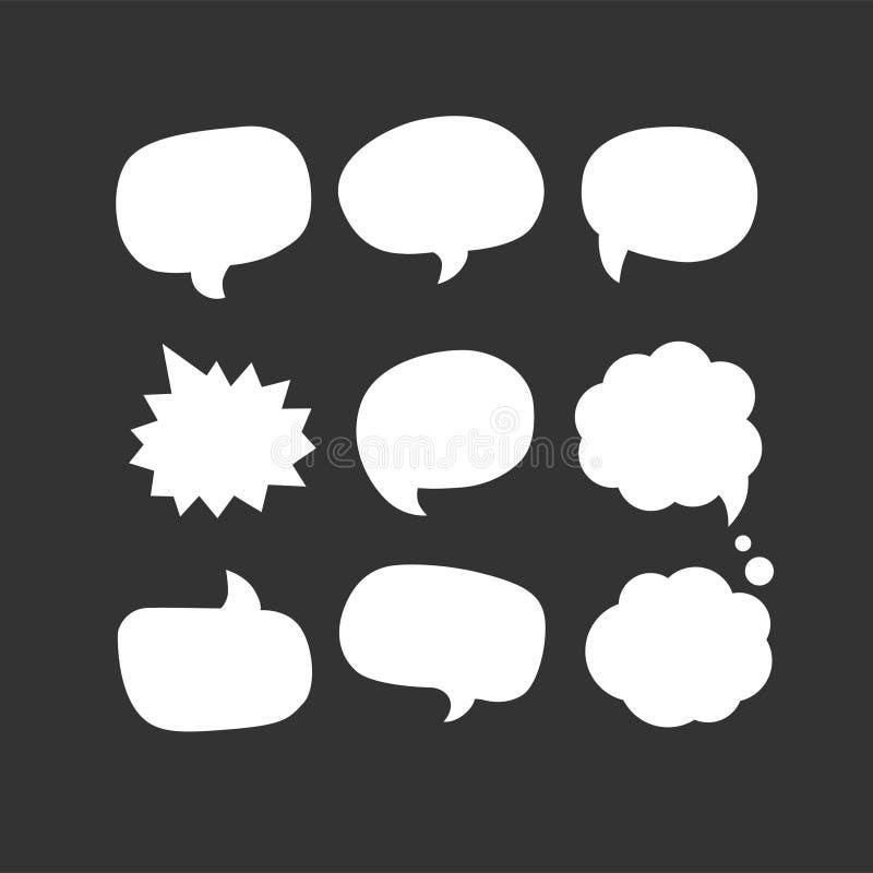 Anförandebubblasymbol Nio av fastställda rengöringsdukvektorsymboler stock illustrationer