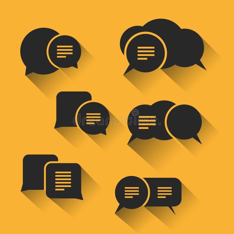 Anförandebubblauppsättning för rengöringsduken och mobilen Apps vektor illustrationer