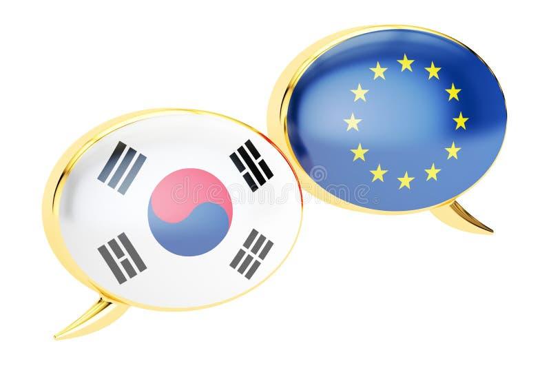 Anförandebubblor, begrepp för EU-söder Korea konversation renderin 3D royaltyfri illustrationer