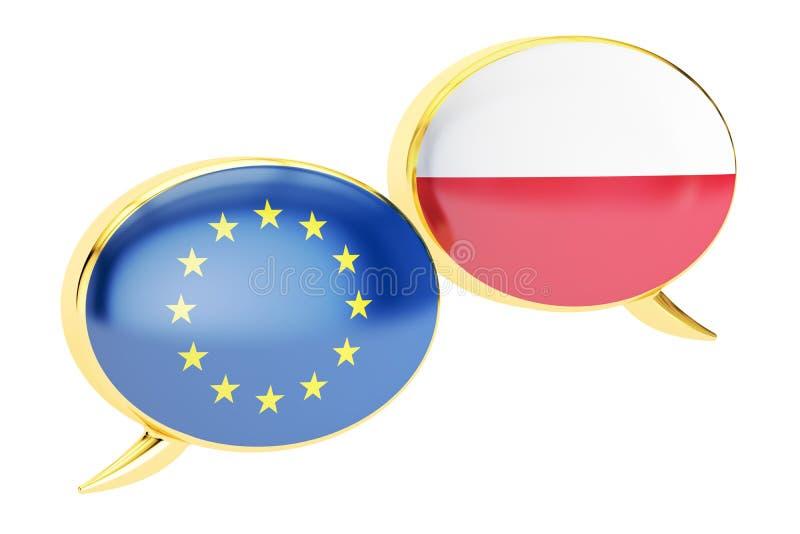Anförandebubblor, EU-Polen konversationbegrepp framförande 3d stock illustrationer