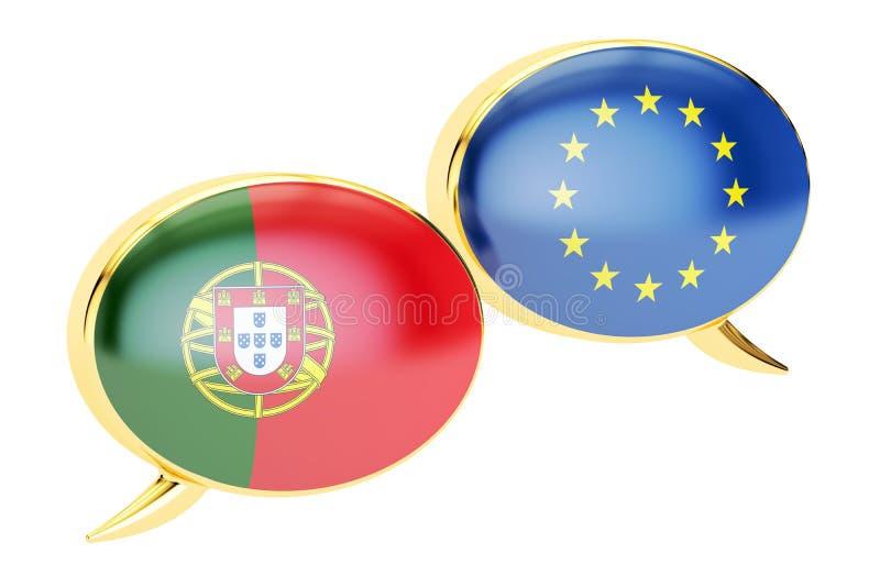 Anförandebubblor, EU-Portugal konversationbegrepp framförande 3d vektor illustrationer
