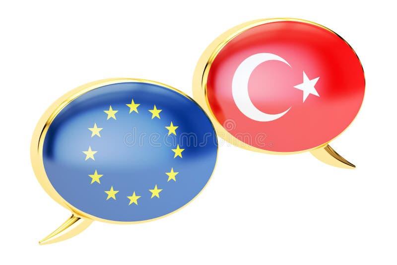 Anförandebubblor, EU-Turkiet konversationbegrepp framförande 3d royaltyfri illustrationer