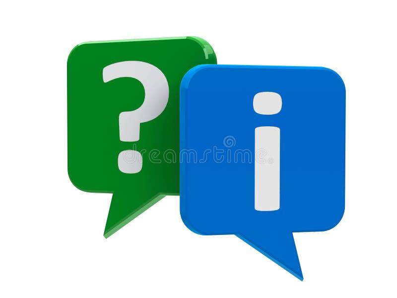 Anförandebubblor - fråga och information som isoleras på vit royaltyfri illustrationer