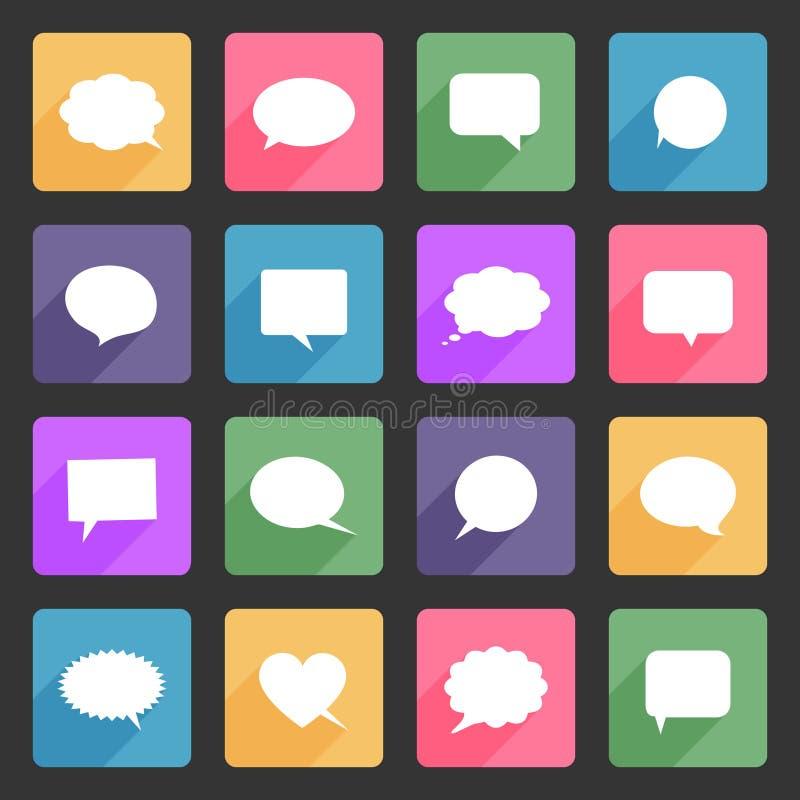 Anförandebubblor sänker symbolsuppsättningen stock illustrationer